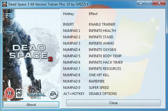 Dead Space 3 (All Versions) +10 Trainer [GRiZZLY]