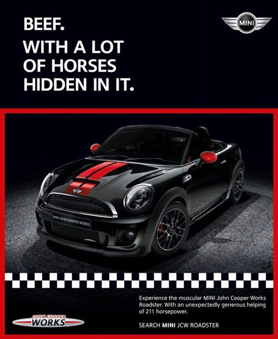 Beef. With a lot of horses hidden in it. MINI John Cooper Works. Experience the muscular MINI John Cooper Works Roadster. With an unexpectedly generous helping of 211 horsepower. SEARCH MINI JCW ROADSTER